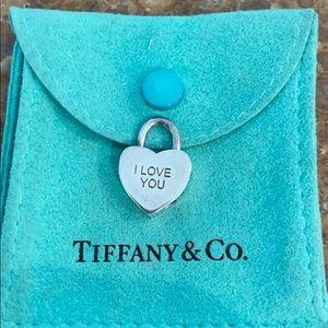 Tiffany & Co. I LOVE YOU heart padlock lock charm.